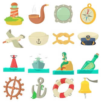 Conjunto de ícones do mar náutico