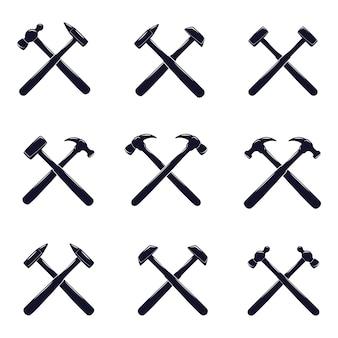 Conjunto de ícones do martelo cruzado