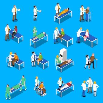 Conjunto de ícones do médico paciente comunicação isométrica