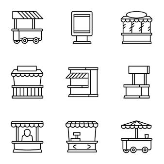 Conjunto de ícones do mercado de rua, estilo de estrutura de tópicos