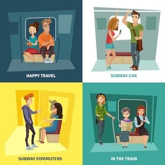 Conjunto de ícones do metrô pessoas conceito
