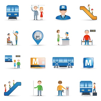 Conjunto de ícones do metrô
