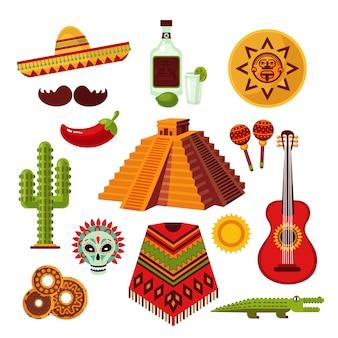 Conjunto de ícones do méxico