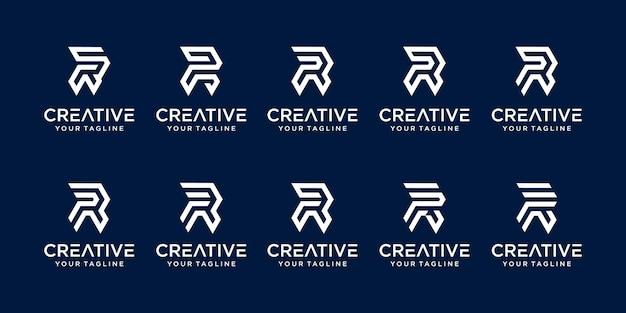 Conjunto de ícones do modelo de logotipo da letra inicial r rr da coleção para negócios da moda esportiva