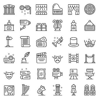 Conjunto de ícones do museu de teatro