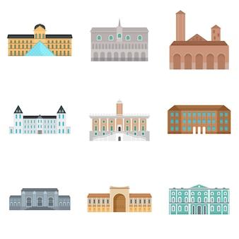 Conjunto de ícones do museu dia itália palácio