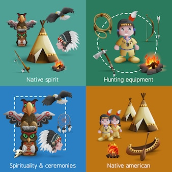 Conjunto de ícones do nativo americano