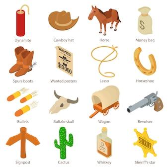 Conjunto de ícones do oeste selvagem. ilustração isométrica de 16 ícones de vetor faroeste para web