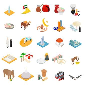 Conjunto de ícones do país oriental