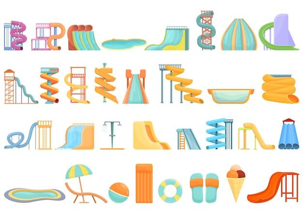 Conjunto de ícones do parque aquático. conjunto de desenhos animados de ícones vetoriais de parque aquático para web design