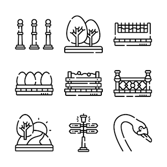 Conjunto de ícones do parque da cidade.