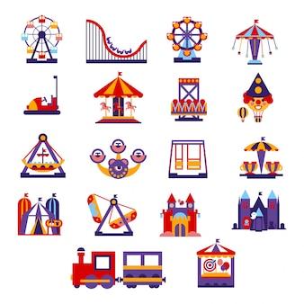 Conjunto de ícones do parque de diversões