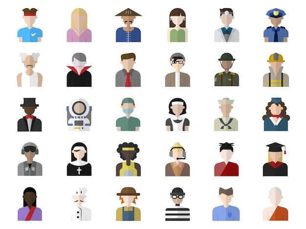 Conjunto de ícones do personagem pessoas avatar design plano