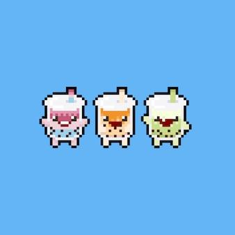 Conjunto de ícones do pixel art bonito dos desenhos animados bolha leite chá chá.