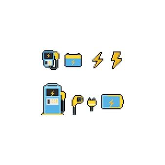 Conjunto de ícones do pixel art carregador de carro elétrico.
