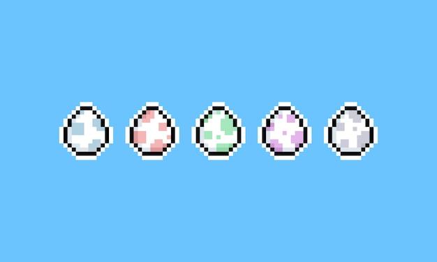 Conjunto de ícones do pixel art cartoon dinossauro ovo.