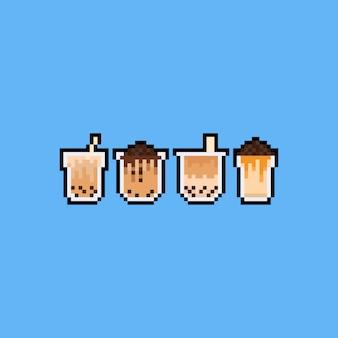 Conjunto de ícones do pixel art dos desenhos animados bolha leite chá.