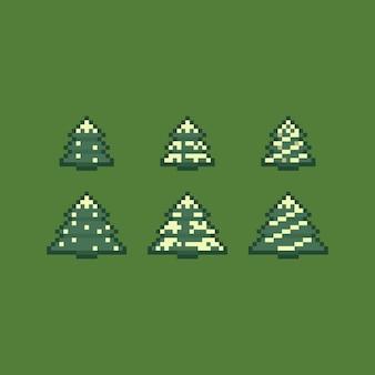 Conjunto de ícones do pixel art retrô árvore de natal.