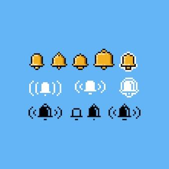 Conjunto de ícones do pixel art sino.