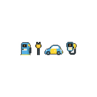 Conjunto de ícones do pixel arte dos desenhos animados carro elétrico.