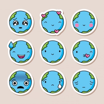 Conjunto de ícones do planeta terra.