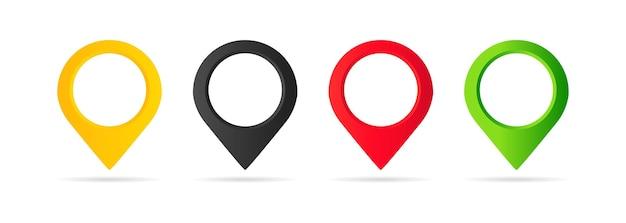 Conjunto de ícones do ponteiro do mapa. geo pin, ícone de localização ou geolocalização, gps, em fundo branco isolado. vetor eps 10.