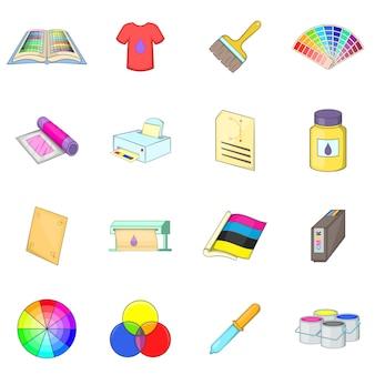 Conjunto de ícones do processo de impressão