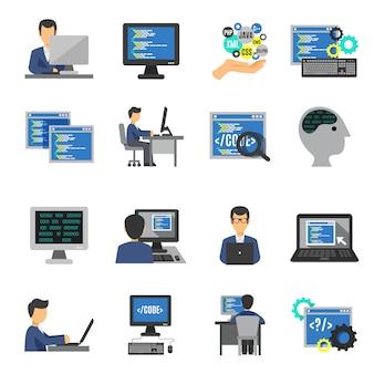 Conjunto de ícones do programador plano