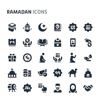 Conjunto de ícones do ramadã. série de ícone preto fillio.