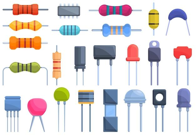 Conjunto de ícones do resistor. conjunto de resistores de desenho animado
