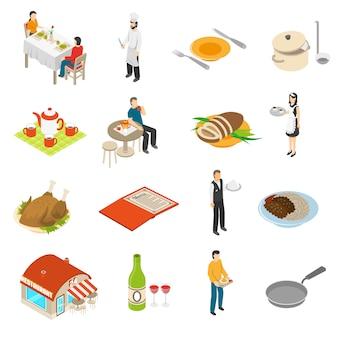 Conjunto de ícones do restaurante cafe bar isométrico