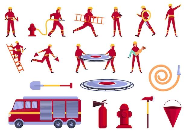 Conjunto de ícones do salvador, estilo desenho animado