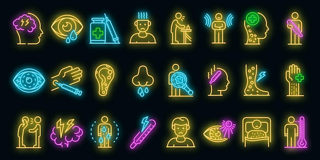 Conjunto de ícones do sarampo. conjunto de contorno de ícones de vetor de sarampo, cor neon em preto
