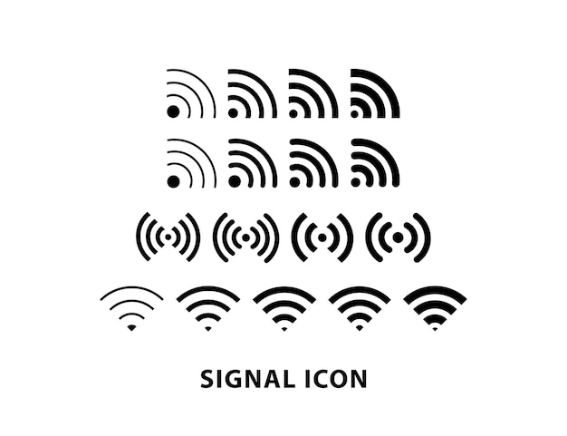 Conjunto de ícones do sinal de internet do smartphone, ícone do sinal wifi.
