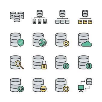 Conjunto de ícones do sistema de banco de dados