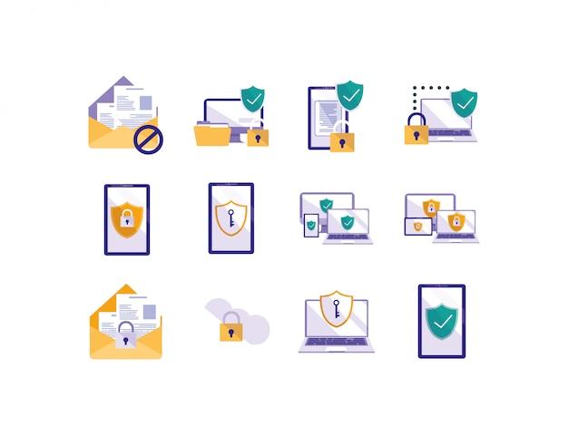 Conjunto de ícones do sistema de segurança isolado