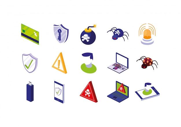Conjunto de ícones do sistema de segurança