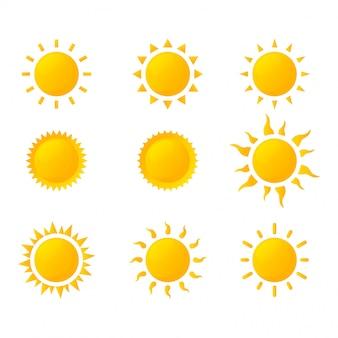 Conjunto de ícones do sol isolado no fundo branco.