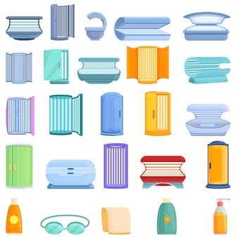 Conjunto de ícones do solário. conjunto de desenhos animados de ícones de solário