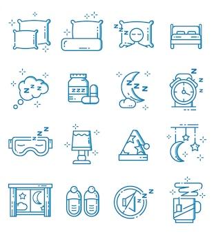 Conjunto de ícones do sono com estilo de estrutura de tópicos