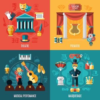 Conjunto de ícones do teatro Vetor grátis