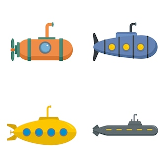Conjunto de ícones do telescópio submarino periscópio vetor isolado