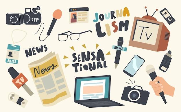 Conjunto de ícones do tema da profissão de jornalista