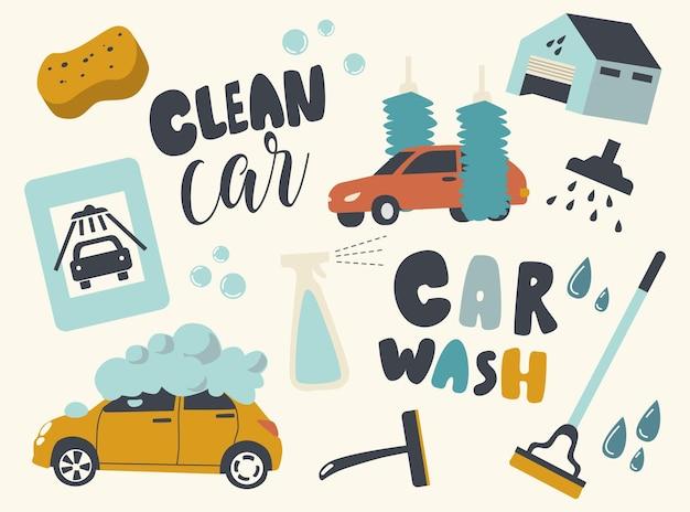 Conjunto de ícones do tema do serviço de lavagem de carros