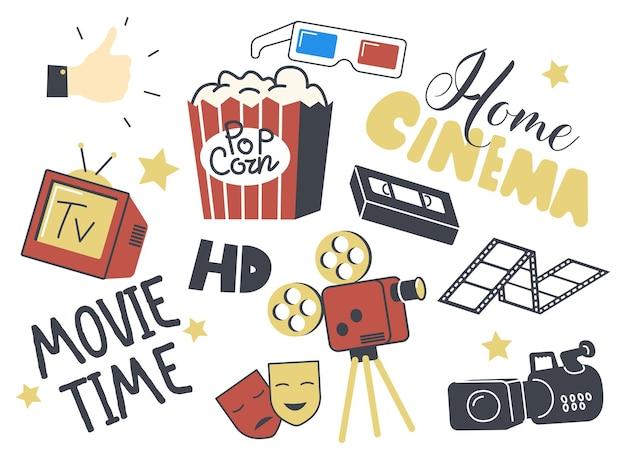 Conjunto de ícones do tema home cinema