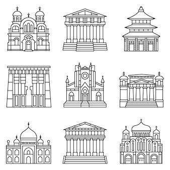 Conjunto de ícones do templo. conjunto de contorno dos ícones do vetor do templo