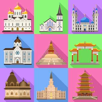 Conjunto de ícones do templo. conjunto plano de vetor do templo