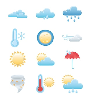 Conjunto de ícones do tempo, chuvoso inverno verão sol noite lua nuvem sol quente e frio