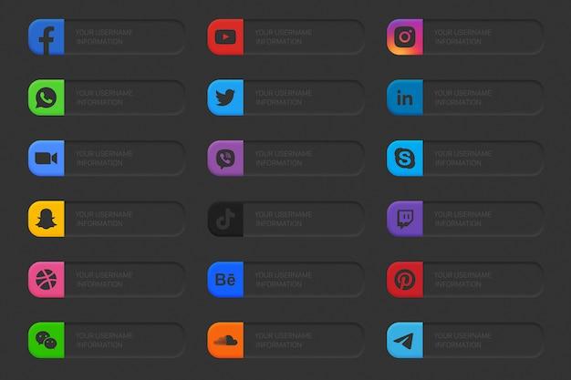 Conjunto de ícones do terço inferior das mídias sociais de banners