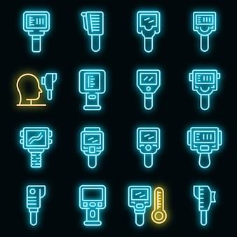 Conjunto de ícones do termovisor. conjunto de contorno de ícones vetoriais de termovisor, cor neon em preto